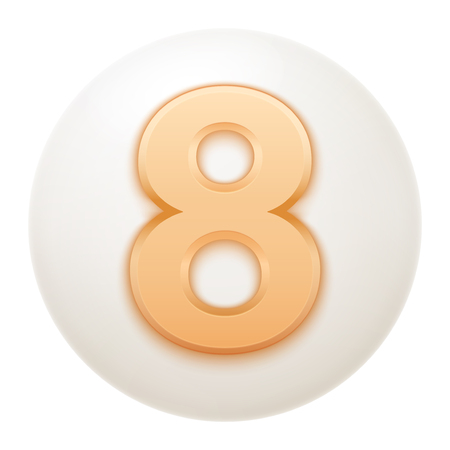 numerology: Full collection of icons balls with number 8. Stock Photo