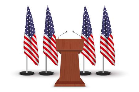 Wooden Podium Tribune US flags