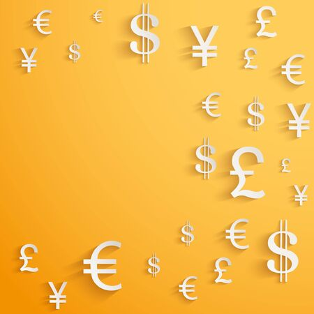 stock exchange brokers: Business background with money Currency symbols Stock Photo