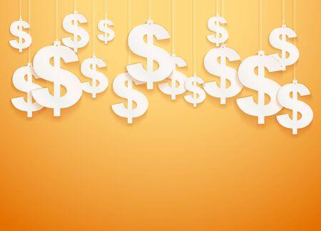 Hung symbols Dollar.  Illustration.