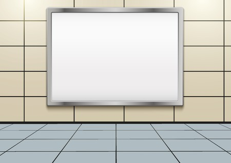 Empty mockup billboard inside metro or subway. Industrial Illustration Stock Photo