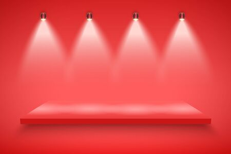 Light box with red platform on red backdrop with spotlights.  Background  illustration.