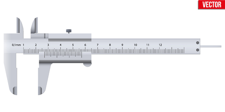 The Vernier caliper and scale. Measuring tool and wquipment. Editable Vector Illustration isolated on white background. Illustration