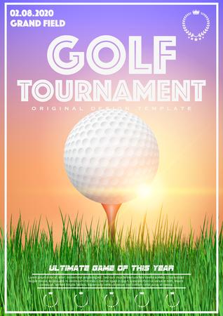 Plantilla del cartel con el torneo de golf. Pelota de golf sobre césped al atardecer.