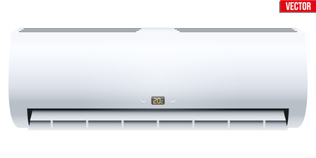 refrigerant: Classic Split air conditioner house system. Switch on. Indoor unit. Sample White color. Vector Illustration on isolated white background Illustration