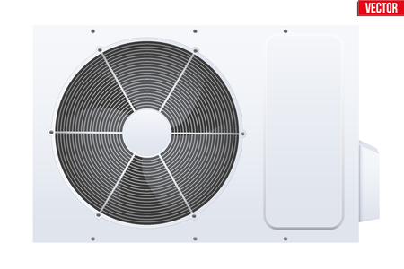 Classic Split air conditioner house system. Externally fitted unit. Evaporative cooler with heat pump system. Sample White color. Vector Illustration on isolated white background Illustration