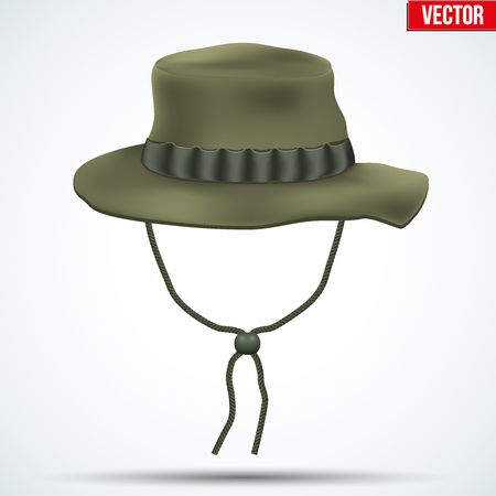 Classic military boonie hat with foliage ring. Olive color. Vector Illustration isolated on background. Illustration