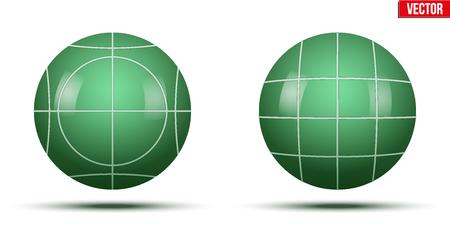 Classiche palle da bocce verdi. Parco e gioco esterno. Illustrazione vettoriale su sfondo bianco isolato Vettoriali