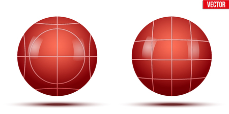 Classic Red Bocce Balls. Park and outside game. Vector Illustration on isolated white background.