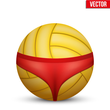 hot woman: Beach Volleyball symbol. Womens swimsuit on volleyball ball. Vector Illustration Isolated on white background.