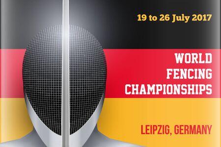 Casque d'escrime sur Backround drapeau allemand. Affiche de l'événement du championnat d'escrime en Allemagne 2017. Illustration vectorielle modifiable.
