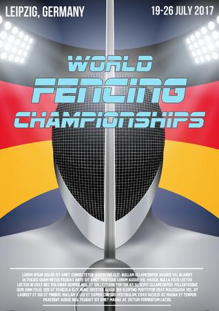 Casque d'escrime sur fond de drapeau allemand avec fond d'arène. Affiche de l'événement du championnat d'escrime en Allemagne 2017. Illustration vectorielle modifiable. Vecteurs