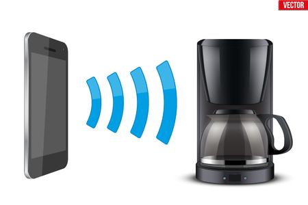 Illustratie van Draadloze controlerende koffiemachine met smartphone. IOT Concept en op afstand huishoudelijk apparaat. Bewerkbare vectorillustratie geïsoleerd op een witte achtergrond.