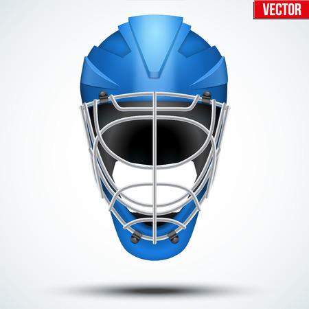Floorball and Floor Hockey Helmet. Blue color. Sport Equipment. Editable Vector illustration