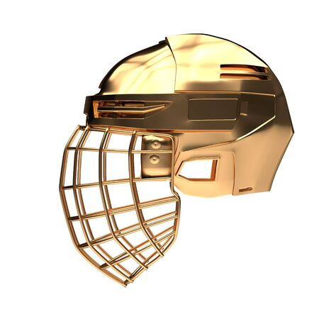 Golden Ice Hockey Helmet. Side view. Cup and Competition equipment. Template 3D render illustration. Isolated on a white background.