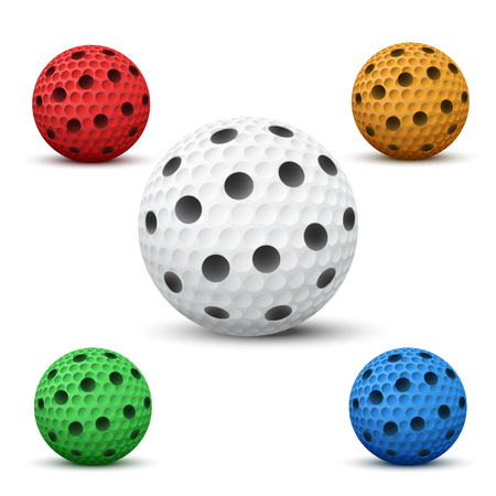Set of Floorball balls for floor hockey. Sport equipment and object. Vector Illustration isolated on background.