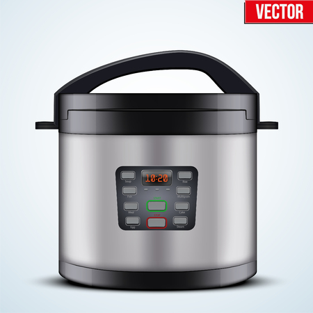 Original Electric pressure cooker or multicooker. Domestic Kitchen appliances and supplies. Vector Illustration isolated on white background.