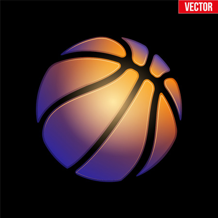 Fantasy Soft symbol of Basketball ball. Hot and cold colors. Vector Illustration.