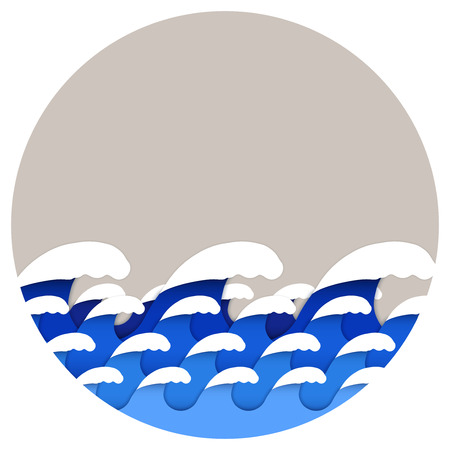 Paper art style of sea or ocean waves. Circle format. Editable banner and background. Vector illustration.