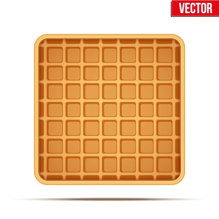 Waffle vector symbol and icon. Label of Sweet and dessert food. Vector Illustration isolated on white background.