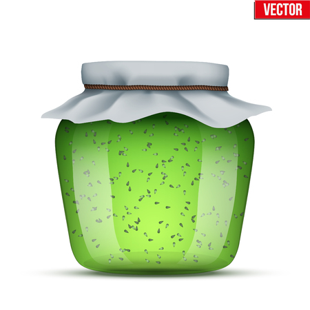 Canning Glass Jar with kiwi jam and closed cloth cover. Vector Illustration isolated on white background.