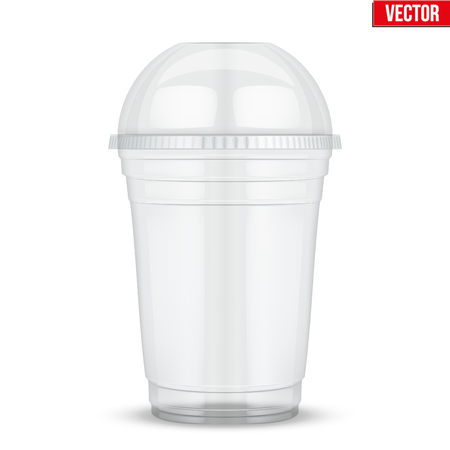 Clear plastic cup with sphere dome cap. For milkshake and lemonade and smoothie. Vector Illustration isolated on white background. Vettoriali