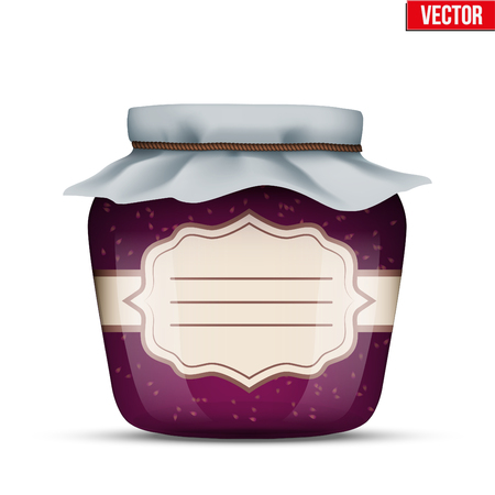Canning Glass Jar with raspberries jam and closed cloth cover. Jar with label. Vector Illustration isolated on white background.