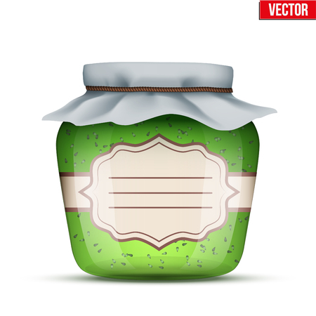 Canning Glass Jar with kiwi jam and closed cloth cover. Jar with label. Vector Illustration isolated on white background. Illustration