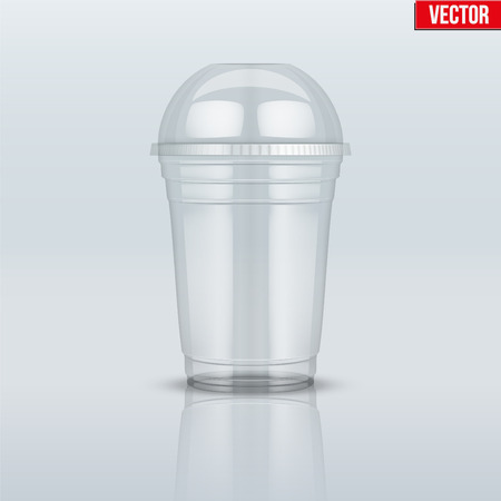 Clear plastic cup with sphere dome cap. For milkshake and lemonade and smoothie. Vector Illustration on presentation background. Imagens - 81888835