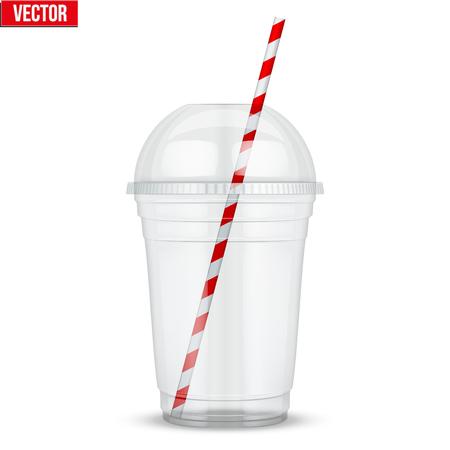 球ドーム キャップとカクテルのチューブが透明なプラスチック カップ。ミルクセーキとレモネードとスムージー。ベクター グラフィックは、白い