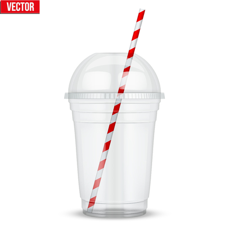 Doorzichtige plastic beker met bolvormige dop en cocktailbuis. Voor milkshake en limonade en smoothie. Vectorillustratie geïsoleerd op een witte achtergrond.