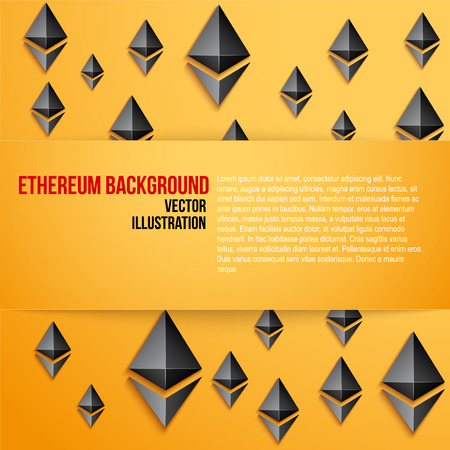 Ethereum symbol on bright orange background with space for text. Concept of ICO Blockchain and cryptocurrency. Business Vector Illustration.