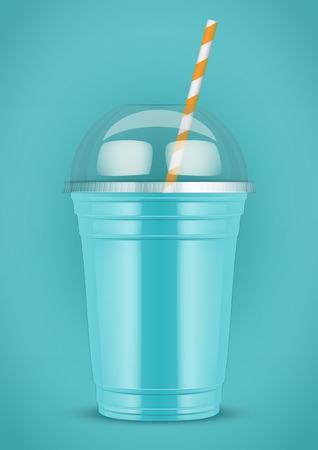 Plastic beker met smoothie en buis op kleur achtergrond. Presentatie Poster voor milkshake en limonade en smoothie. Azure kleur. Vector illustratie.