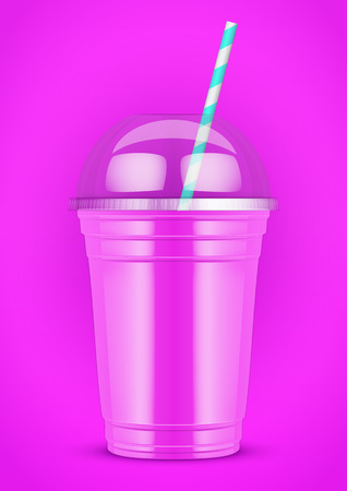 ice tea: Plastic cup with smoothie and tube on color background. Presentation Poster for milkshake and lemonade and smoothie. Pink color. Vector Illustration.