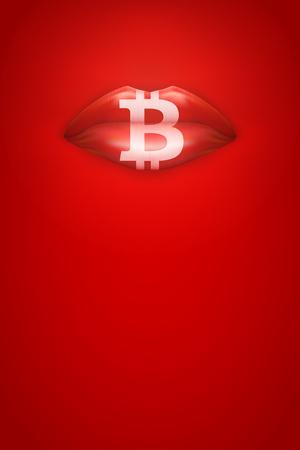 Advertisement horizontal Poster of Female lips on Red Background with bitcoin symbol. Idea of Blockchain and cryptocurrency. Vector Illustration.