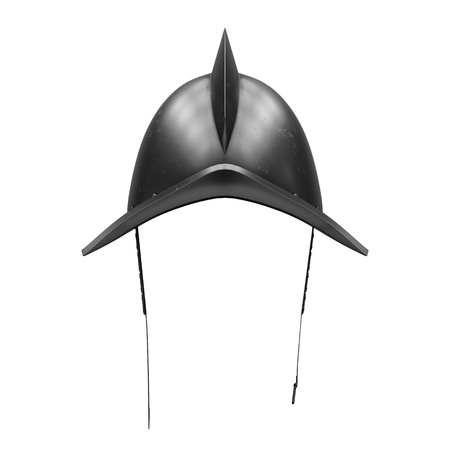 Medieval Knight Spanish Morion Helmet. Front view. Ancient Conquistador equipment for battlefields. 3D render Illustration Isolated on white background. Stock Photo
