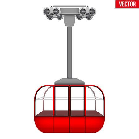 Sample Ski Lift Gondola. Ski Resort Equipment for cableway. Vector Illustration isolated on white background.