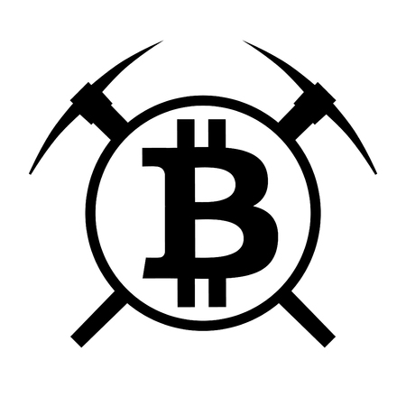 Symbol of mining cryptocurrency bitcoin. Circle and two pickaxes. Logo and badge of financial tools. Vector Illustration isolated on white background.