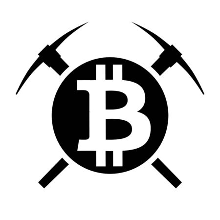 Symbol of mining cryptocurrency bitcoin. Circle and two pickaxes. Logo and badge of financial tools. Vector Illustration isolated on white background. Illustration