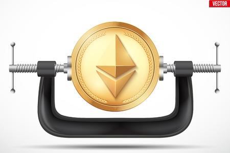 Cryptocurrency Symbol Ethereum wird im Laster gequetscht. Das Konzept des Drucks auf die digitale Währung durch die Regierung oder die Banken. Vector Illustration auf hintergrund isoliert.