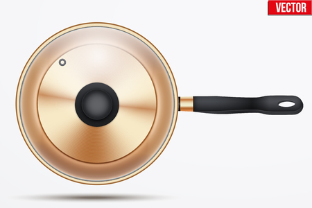 saute: Classic brass fry pan with glass lid and handle. Top view and round shape. Kitchen and domestic symbol. Vector Illustration isolated on background.