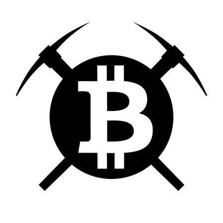 Symbol of mining currency bitcoin. Circle and two pickaxes. Logo and badge of financial tools.
