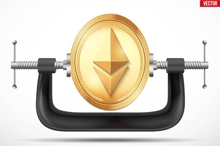 Cryptocurrency symbol ethereum being squeezed in vice. The concept of pressure on the digital currency by the government or banks.