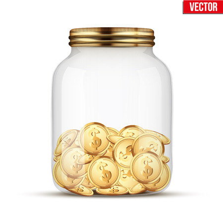 Saving money coin in jar. Symbol of investing and keeping money. Illustration