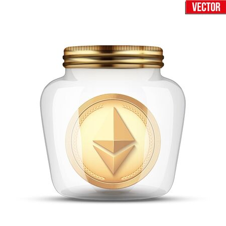 Symbol of saving and investing digital money. Glass jar with cryptocurrency ethereum insight.