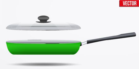 non: Classic Metal green non-stick frying pan with glass lid and handle. Side view and round shape. Kitchen and domestic symbol.