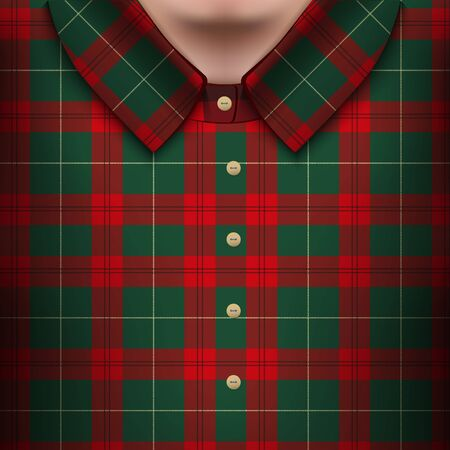british culture: Plaid shirt on man body. The symbol of fashion. Traditional Scotland plaid texture. Design element for store and retail. Editable Vector illustration