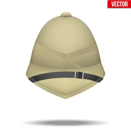Background Cork Helmet hat for safari or explorer. Research and discover. Front view. Vector Illustration isolated on white background. Illustration