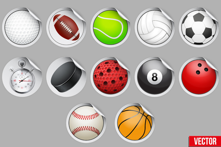 hockey goal: Round Stickers with sport balls and equipment. Vector illustration.