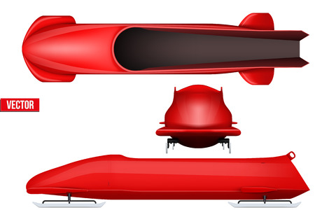 Set of Classic bobsleigh for four athletes. Top and front and side view.